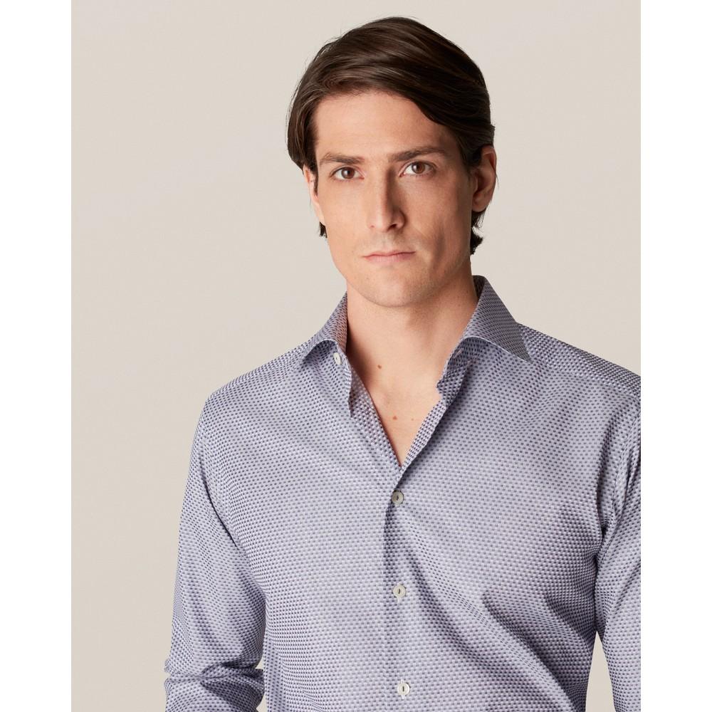 Eton Checked Slim Fit Dobby Shirt Blue and Grey