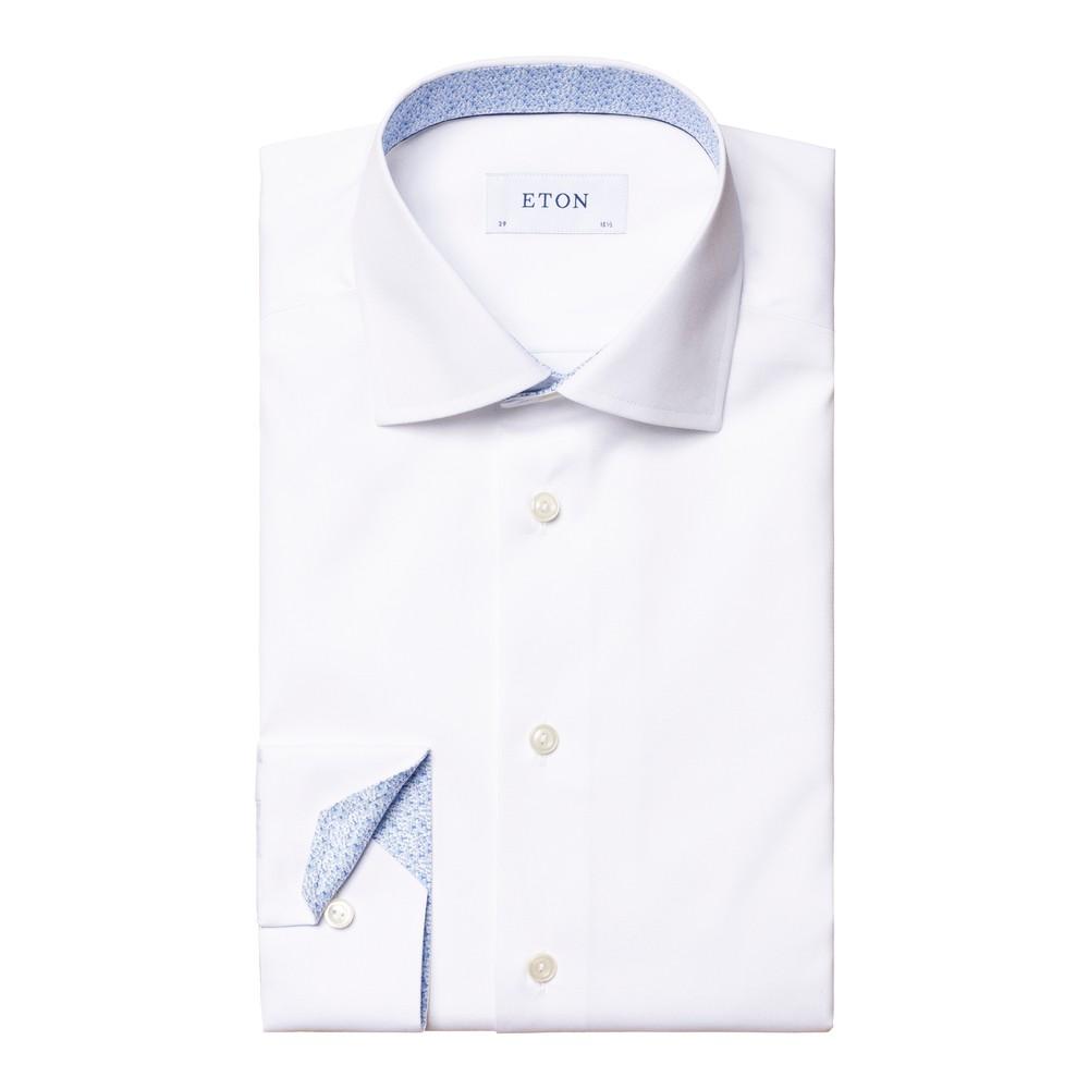 Eton Poplin Contemporary Fit Shirt - Mushroom Print Details White