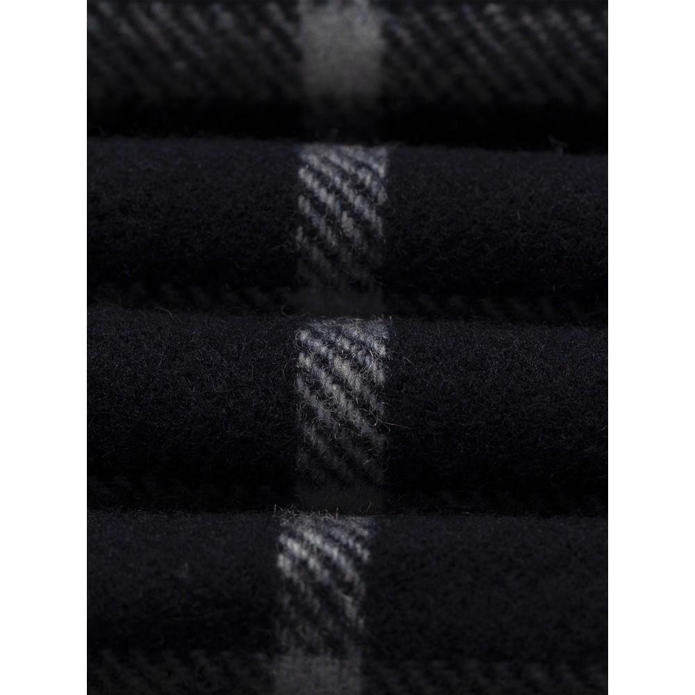 Eton Check Wool Scarf Navy
