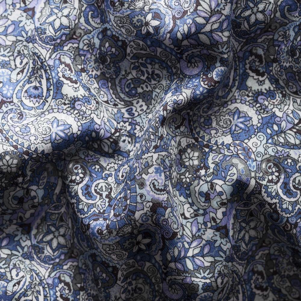 Eton Scandinavian Paisley Print Shirt Blue