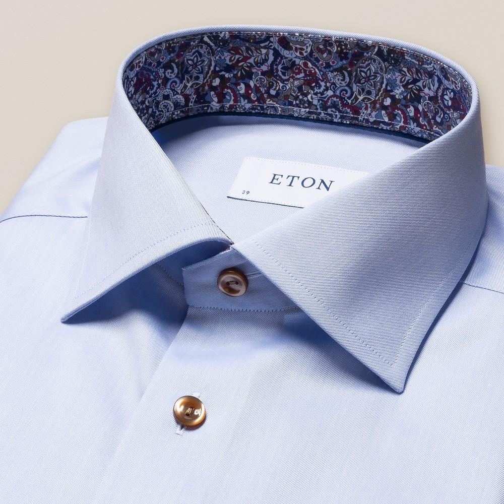 Eton Signature Twill Slim Fit Shirt w/Paisley Light Blue