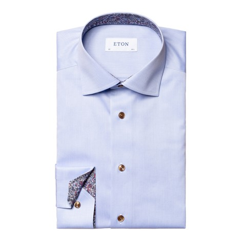 Eton Signature Twill Slim Fit Shirt w/Paisley  in Light Blue
