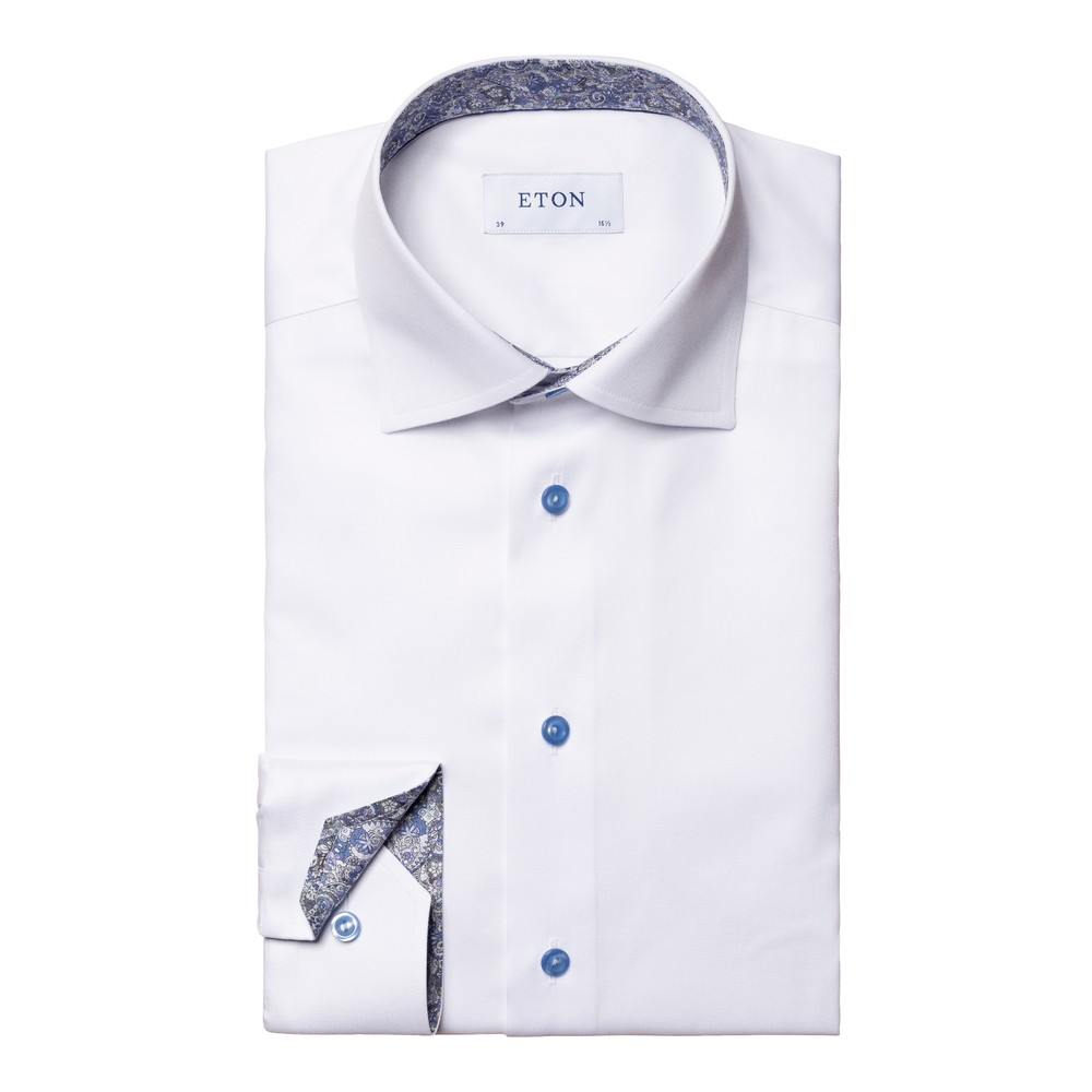 Eton Signature Twill Slim Fit Shirt w/Paisley White
