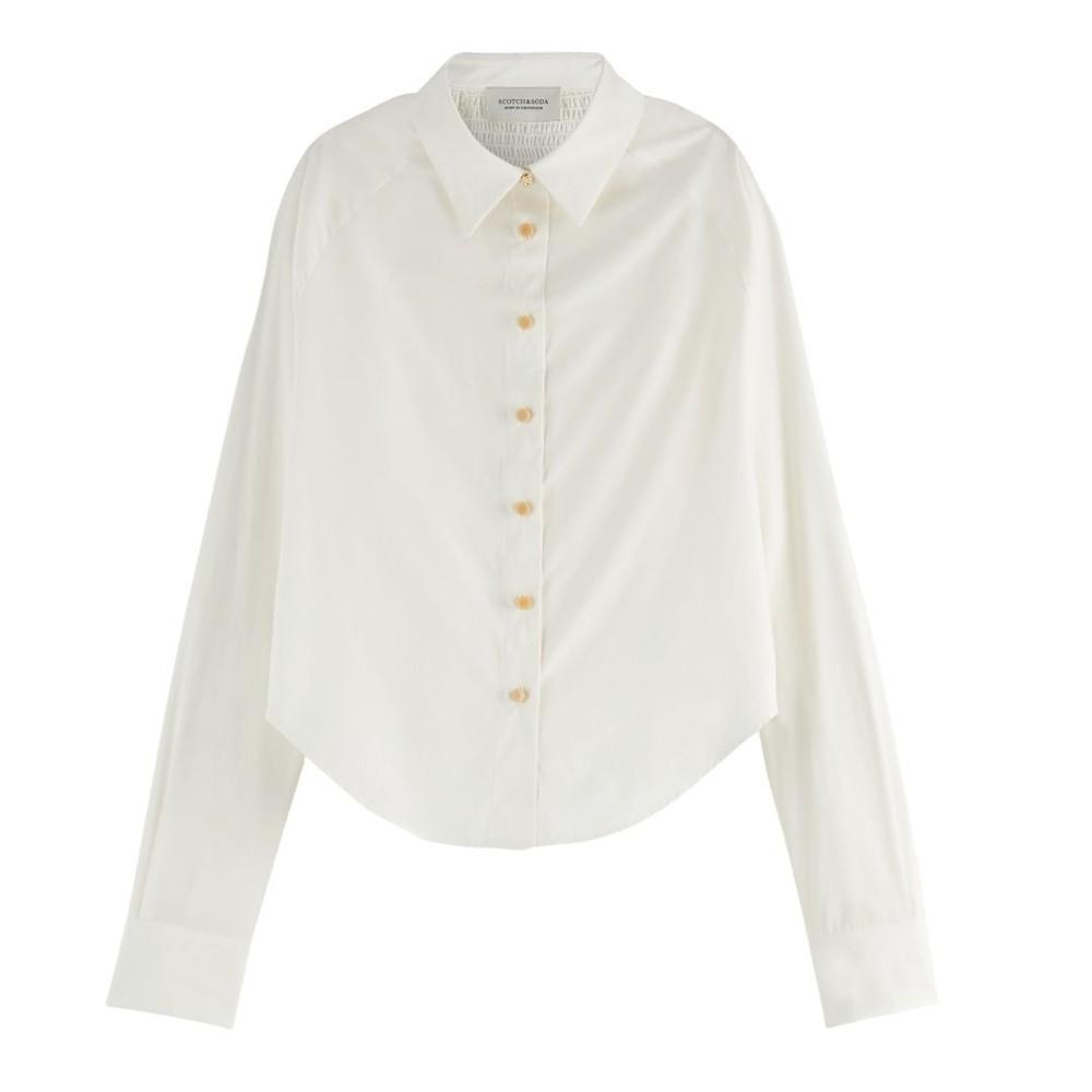 Scotch & Soda Smocked Raglan-Sleeved Shirt White