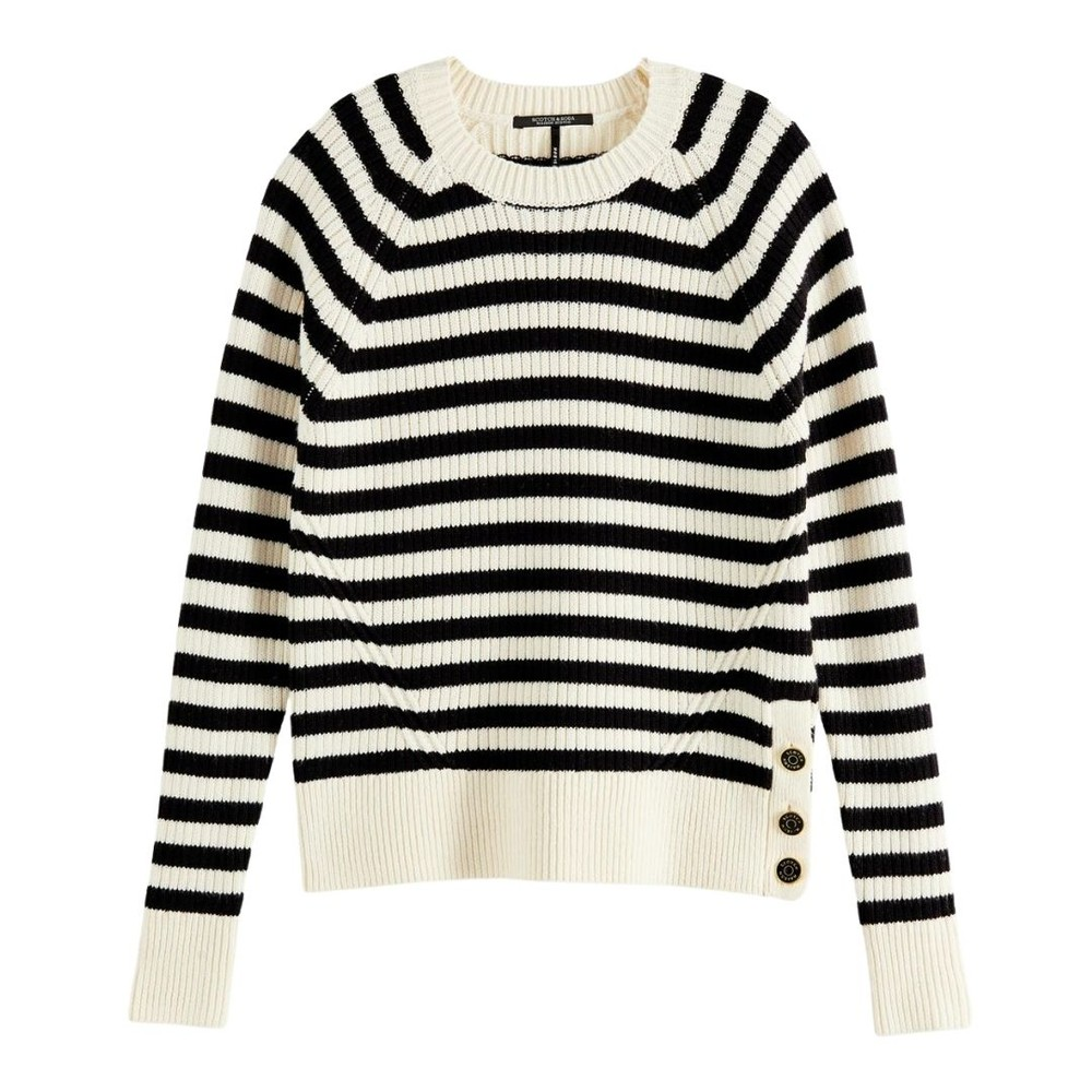 Scotch & Soda Striped Chunky Knitted Sweater White and Navy