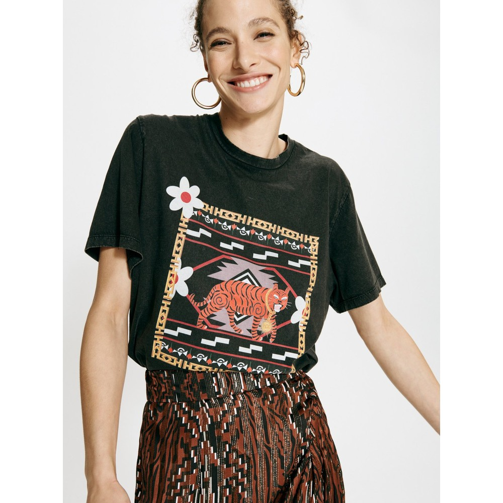 Hayley Menzies Portobello Tiger Pima Cotton T-Shirt Black