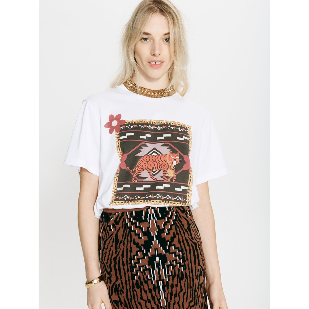 Hayley Menzies Portobello Tiger Pima Cotton T-Shirt White