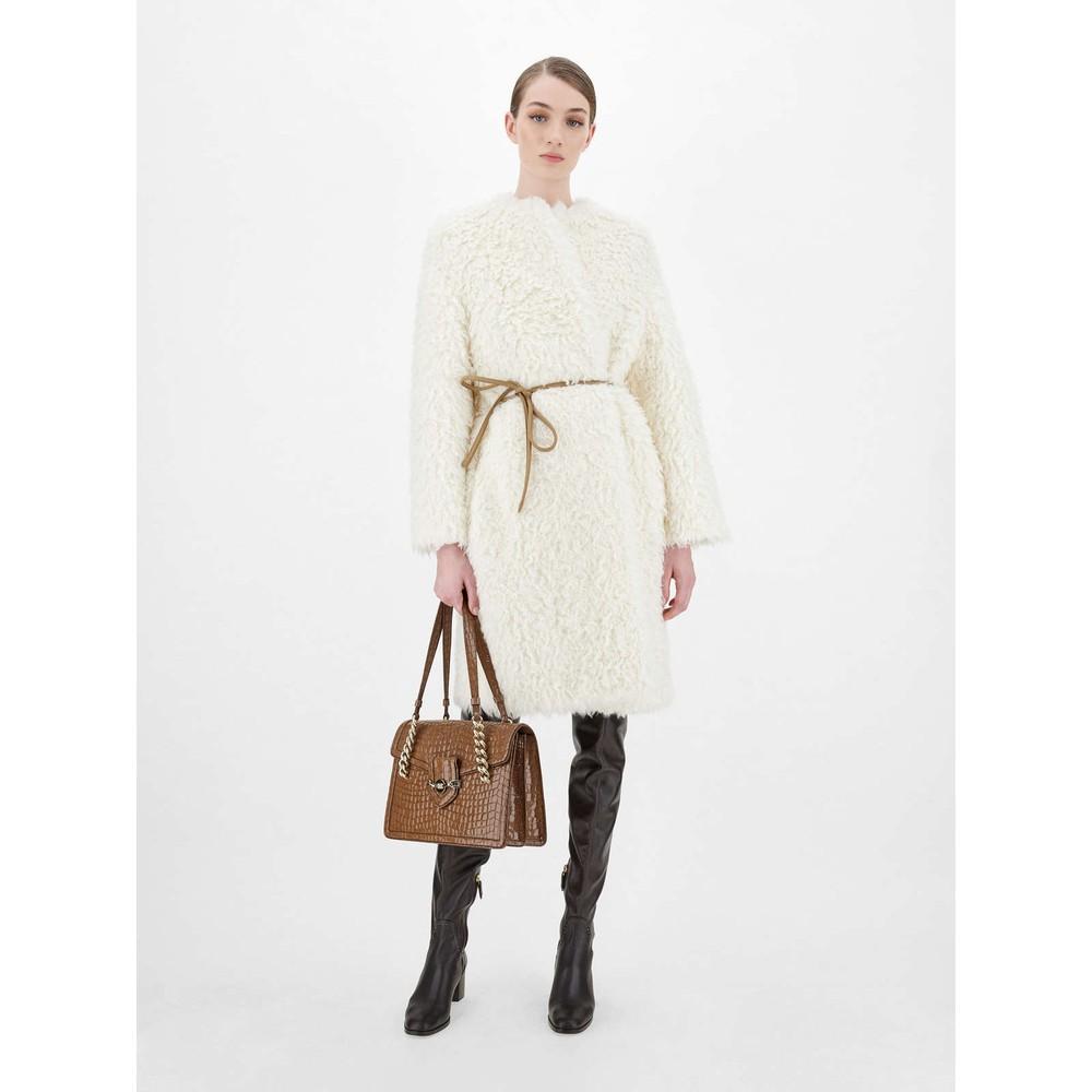 Maxmara Studio Bosso Mongolian Alpaca Coat Ivory