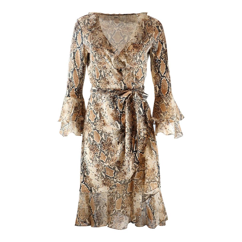 DVF Carli Ruffle Silk Jersey Wrap Dress Brown