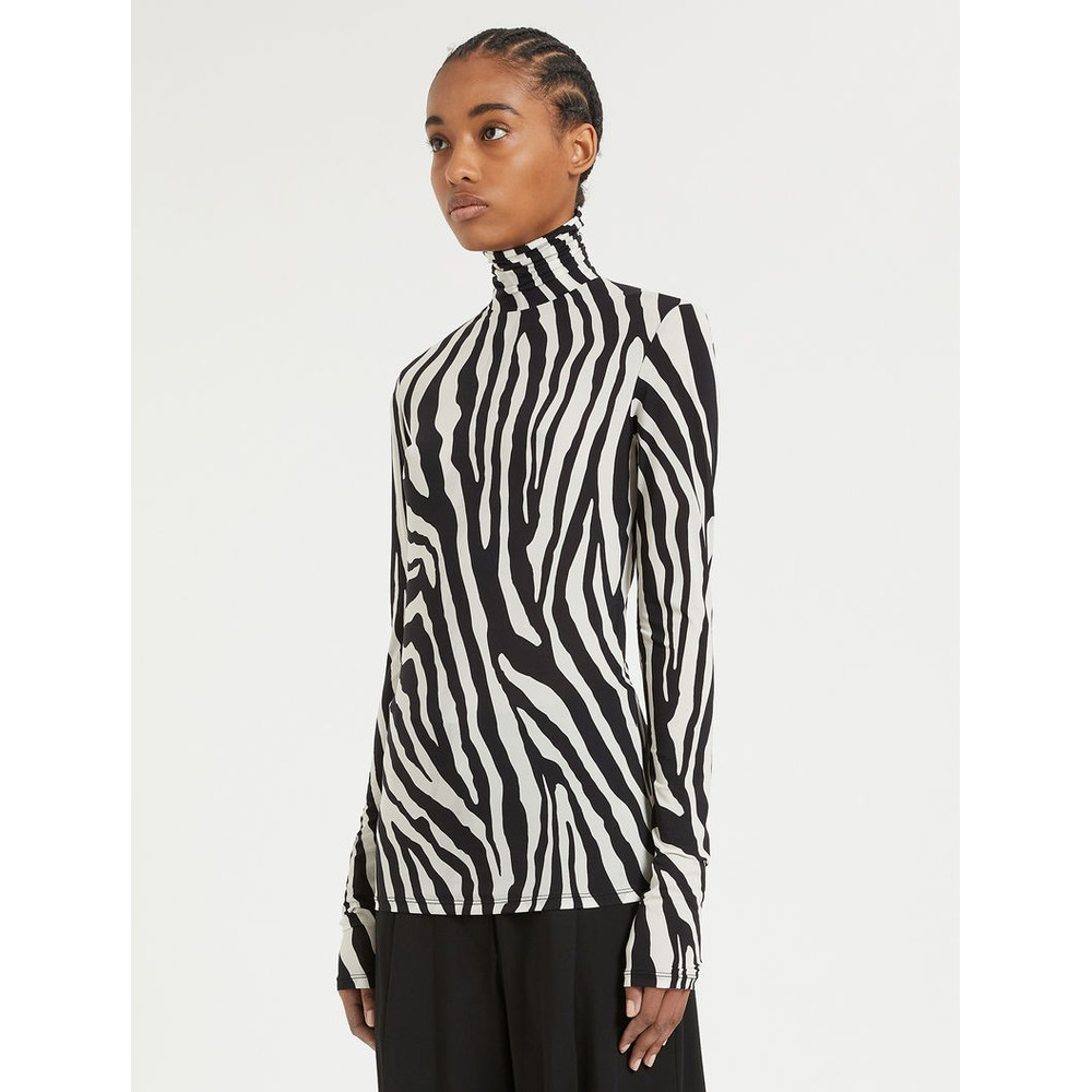 Sportmax Fly Skintight Jersey Polo-Neck Top Black & White