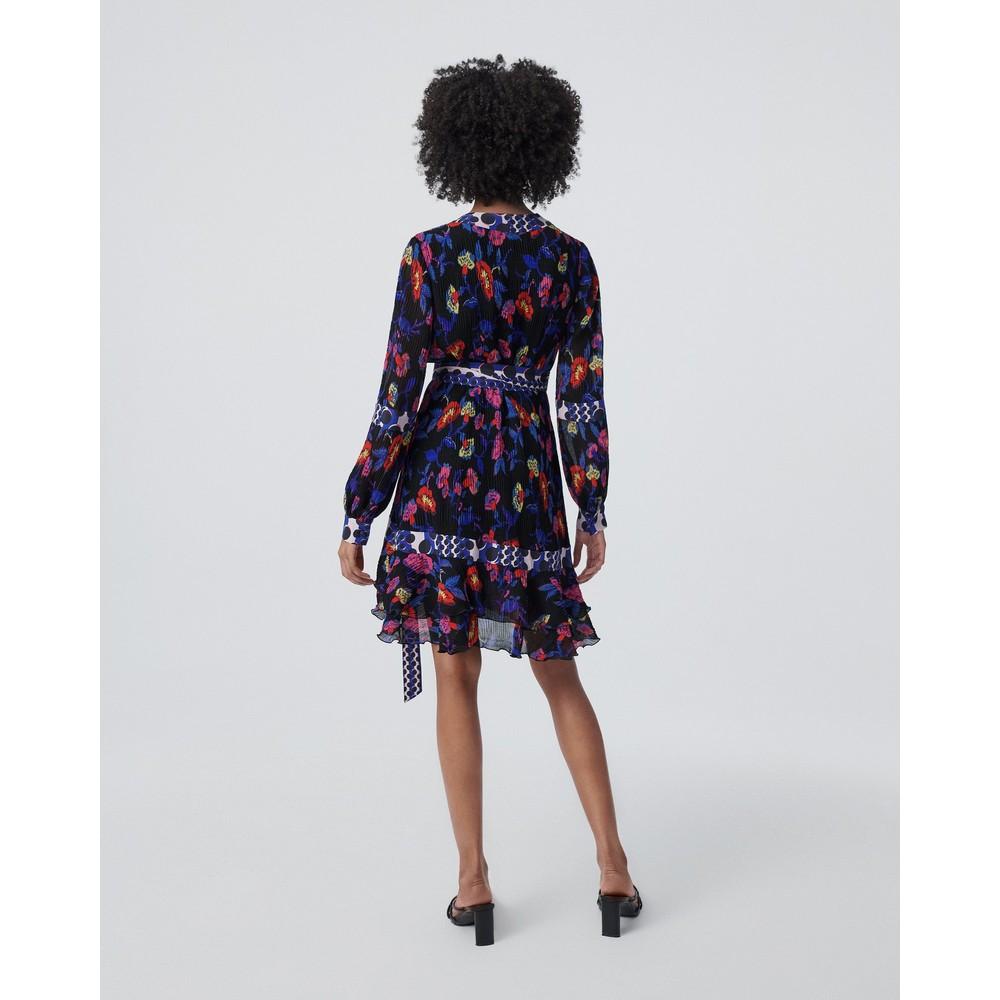 DVF Sol Ruffled Mini Wrap Dress in Charlottenburg Floral Floral
