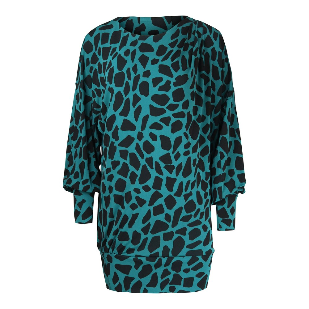 DVF Reese Matte-Jersey Mini Dress in Giraffe Teal
