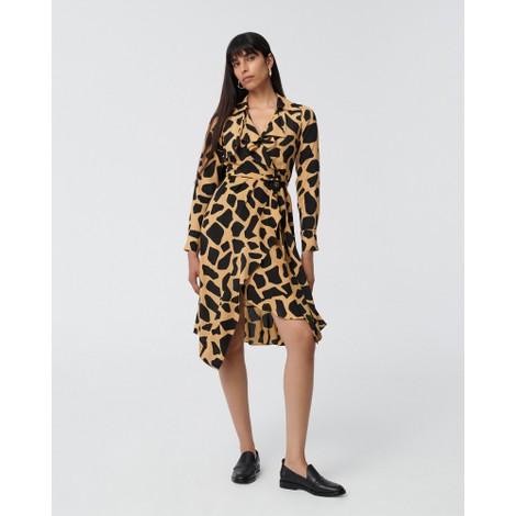 DVF Eden Silk-Viscose Crepe de Chine Wrap Dress in Giraffe Large