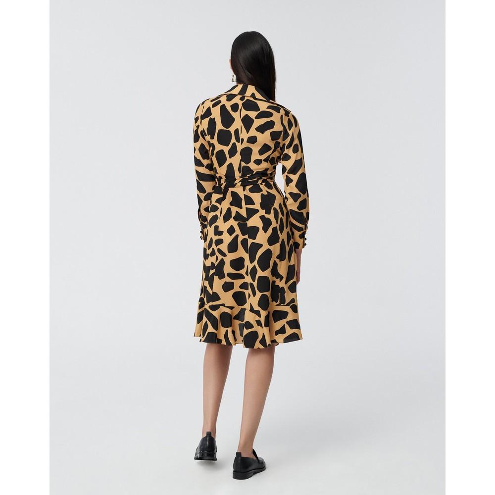 DVF Eden Silk-Viscose Crepe de Chine Wrap Dress in Giraffe Large Natural