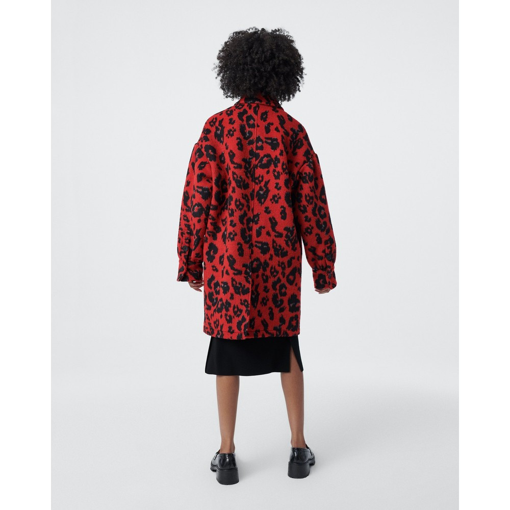 DVF Manon Oversized Wool Jacquard Coat Red
