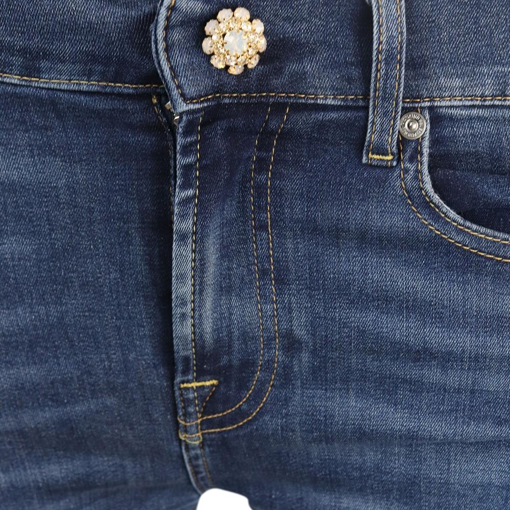 7 For All Mankind Womenswear Roxanne B(Air) Vintage Dusk with Jewell Button Mid Waist Slim Jeans Denim Blue