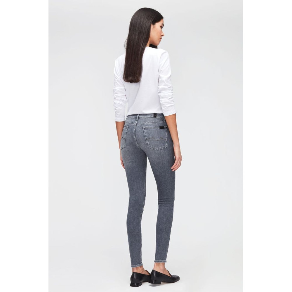 7 For All Mankind Womenswear The Skinny Slim Illusion Genuine Jeans with Embellished Squiggle Grey