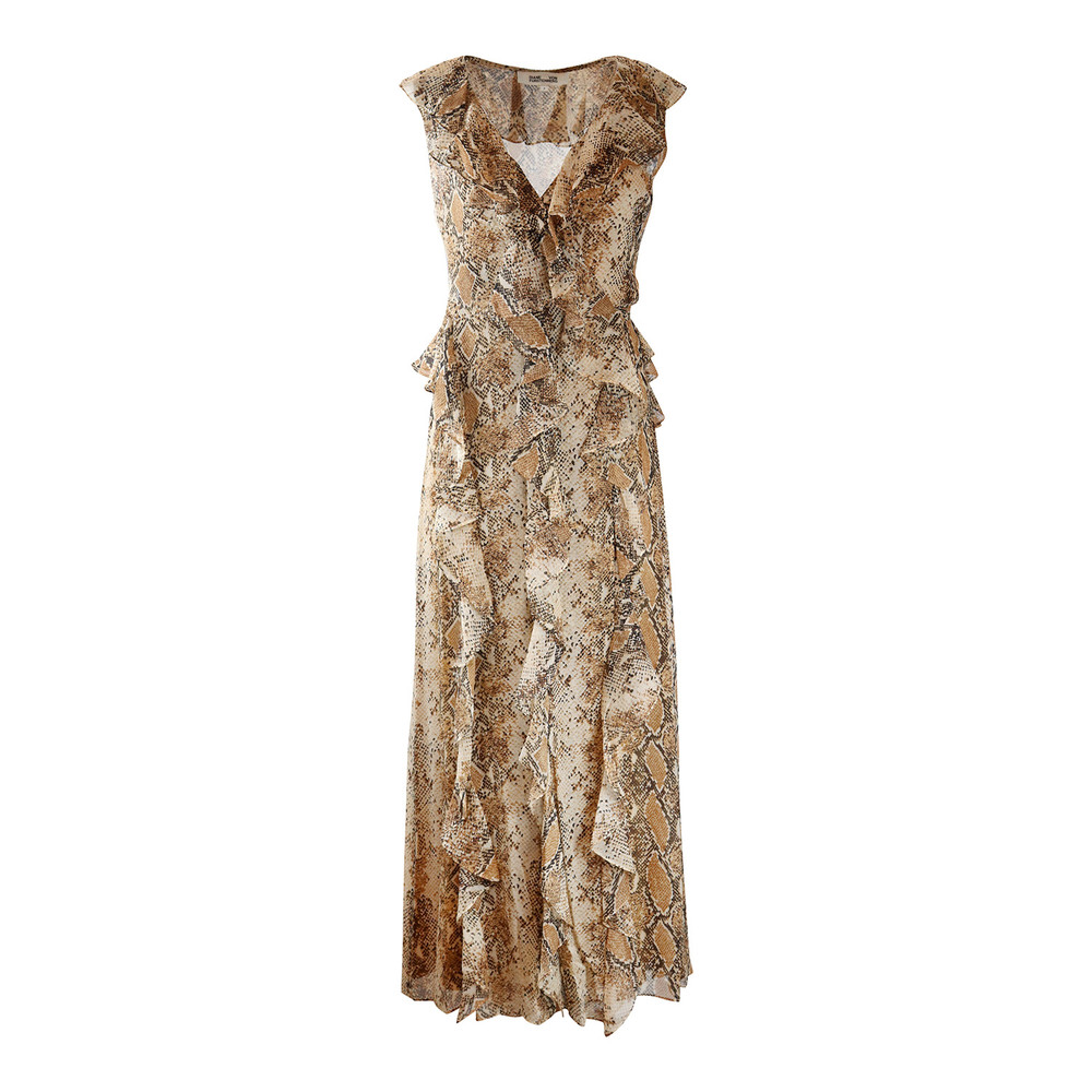 DVF Lacey Sleeveless Wrap Frill Python Dress Brown