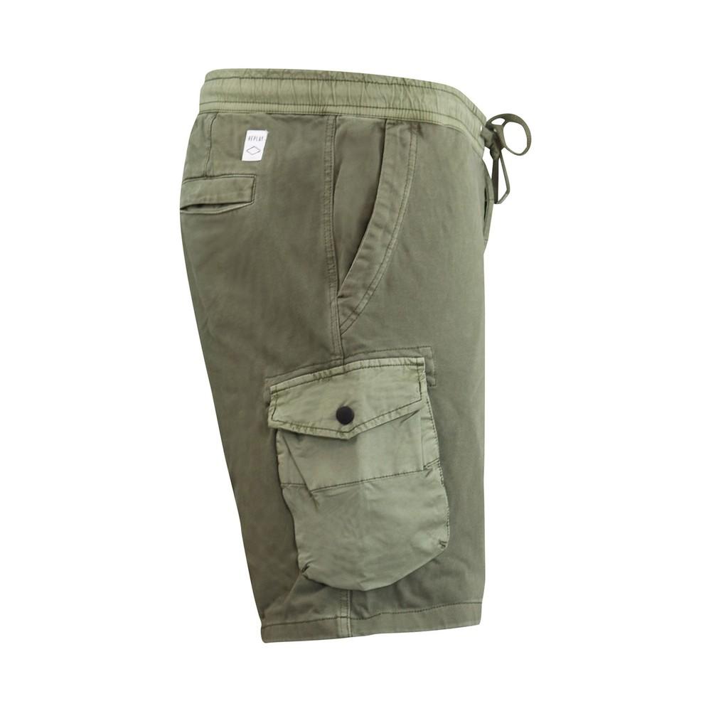Replay Soft Denim Cargo Shorts Green