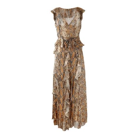 DVF Lacey Sleeveless Wrap Frill Python Dress