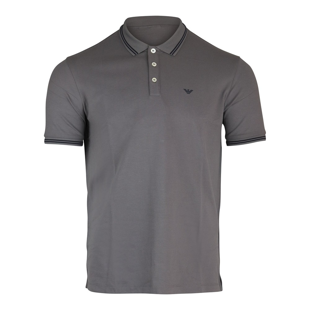 Emporio Armani Short Sleeved Polo With Trim Grey