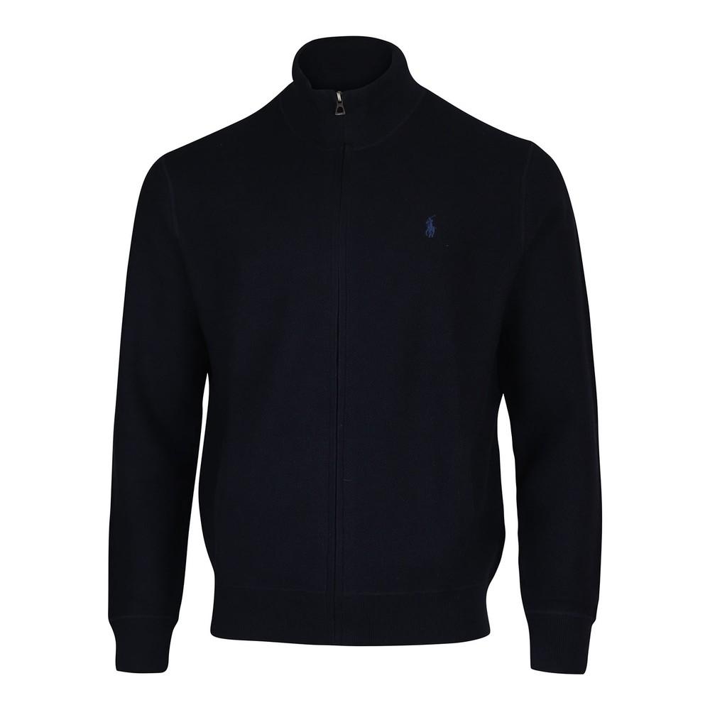 Ralph Lauren Menswear Zip Through Textured Sweater Navy