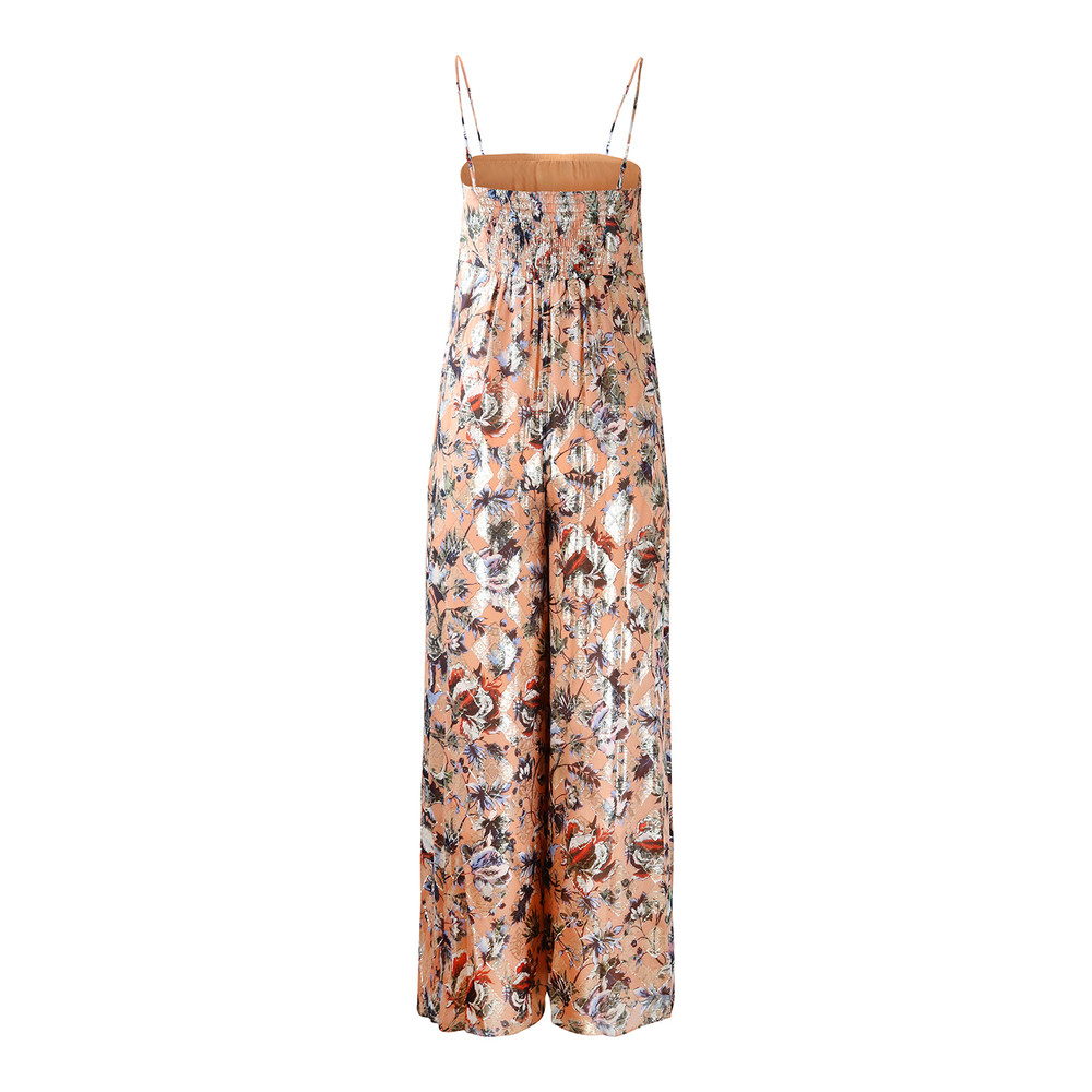 DVF Cece Strappy Metallic Jumpsuit Peach