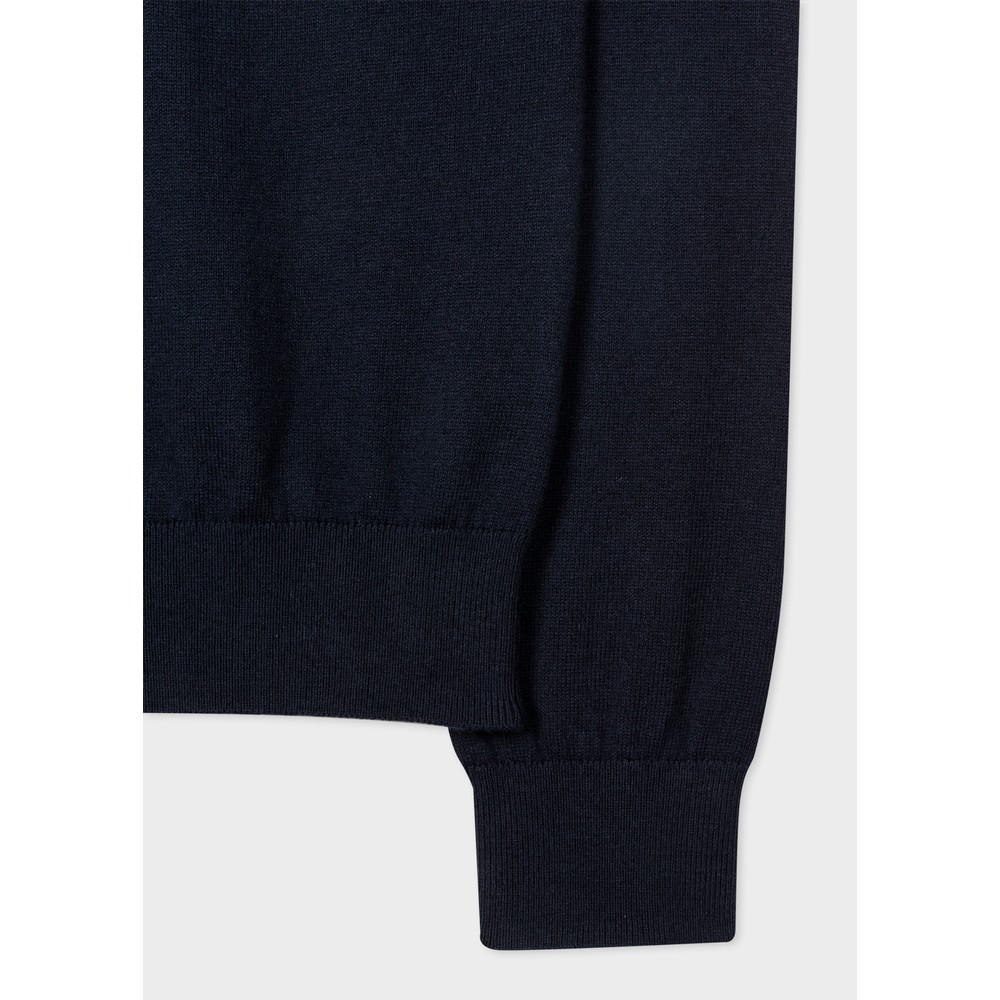 PS Paul Smith Zebra Logo Cotton-Blend Zip-Neck Sweater Dark Navy