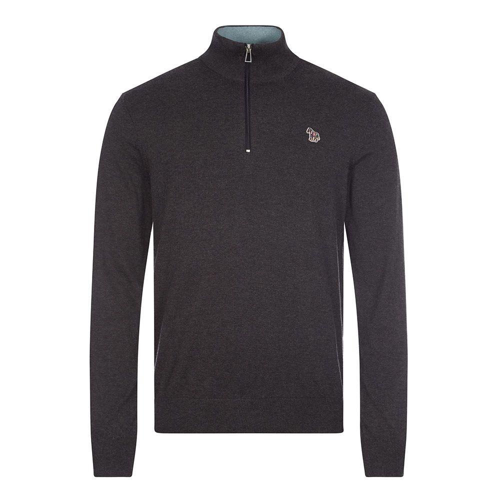 PS Paul Smith Zebra Logo Cotton-Blend Zip-Neck Sweater Charcoal