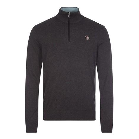 PS Paul Smith Zebra Logo Cotton-Blend Zip-Neck Sweater