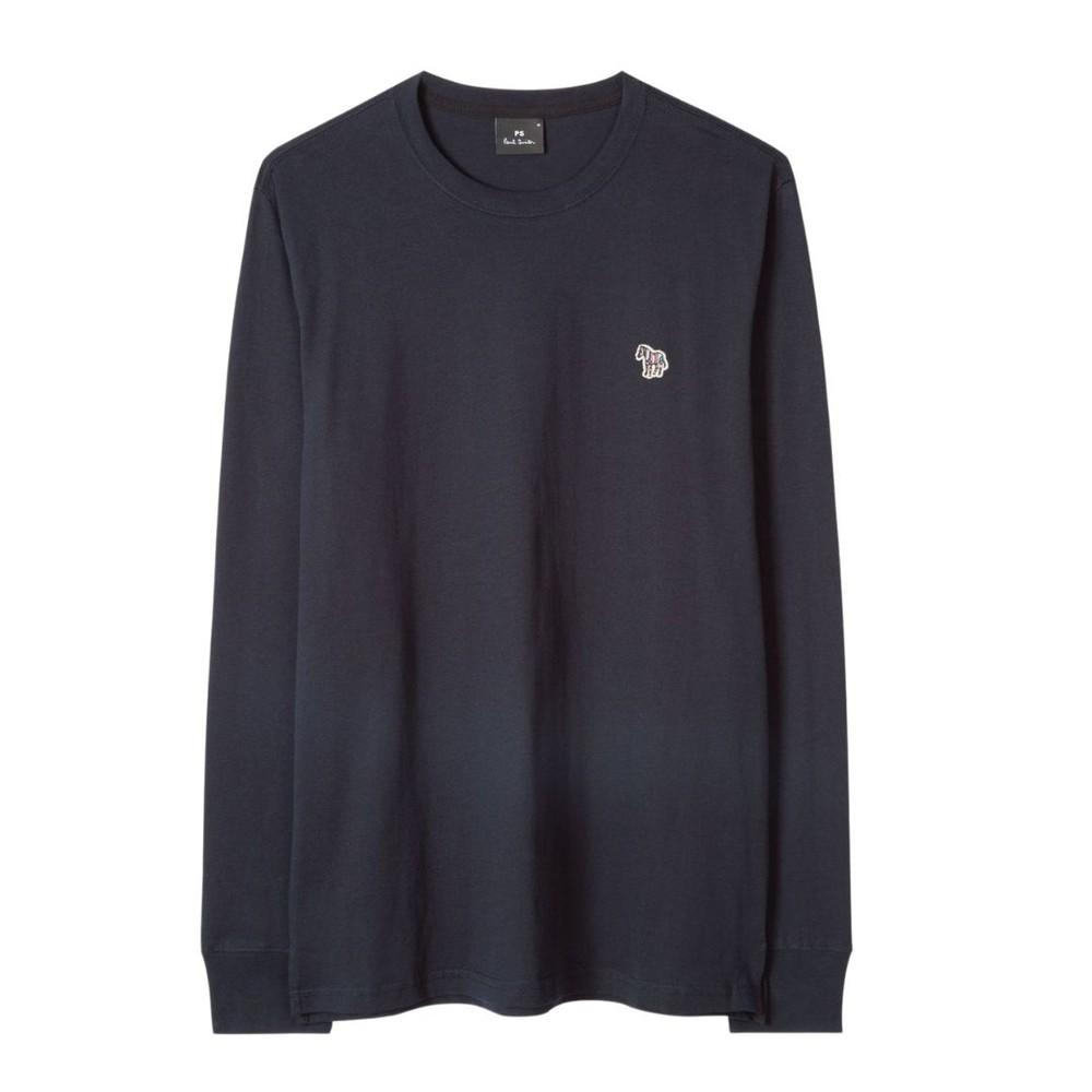 PS Paul Smith Men's Cotton Zebra Logo Long-Sleeve T-Shirt Dark Navy