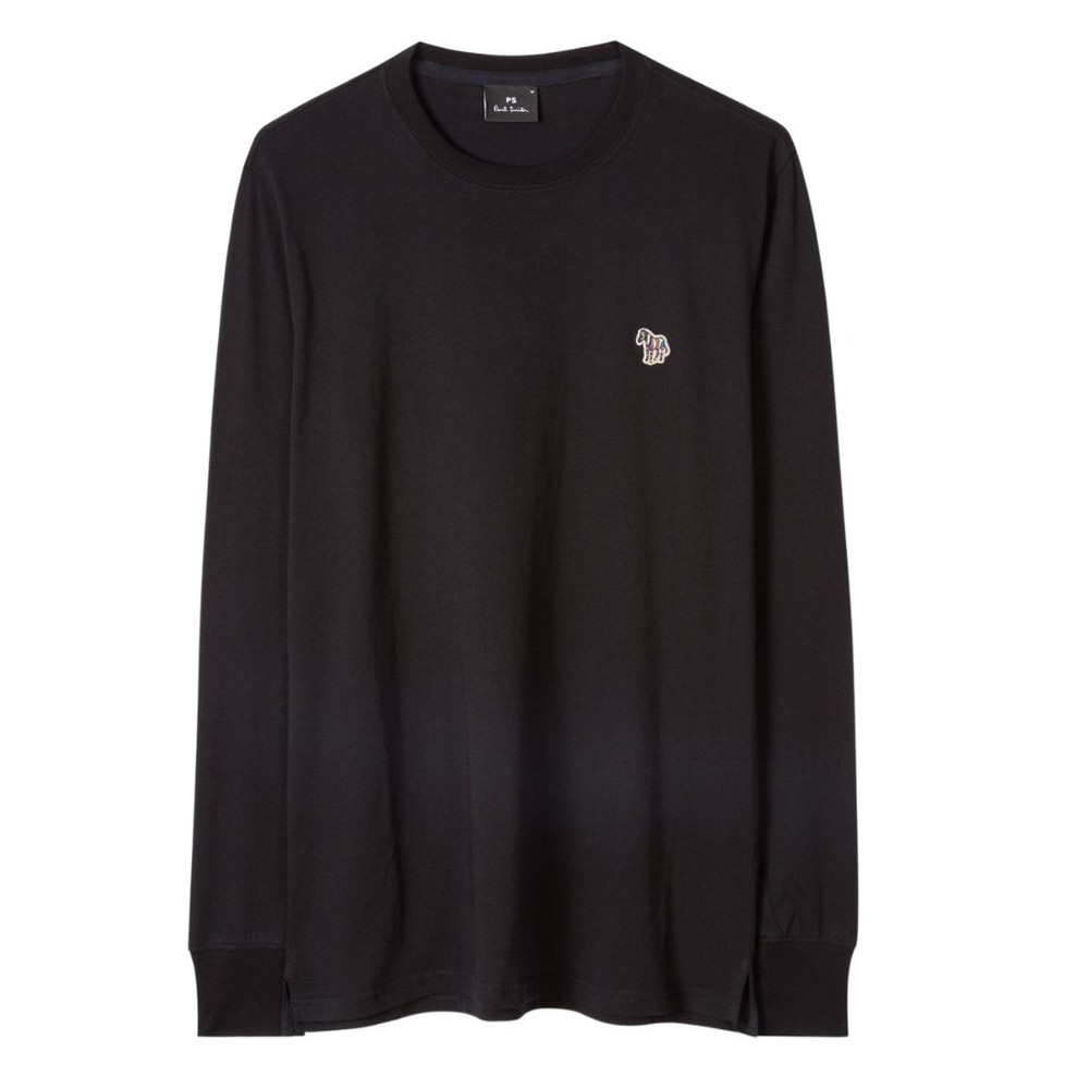 PS Paul Smith Men's Cotton Zebra Logo Long-Sleeve T-Shirt Black
