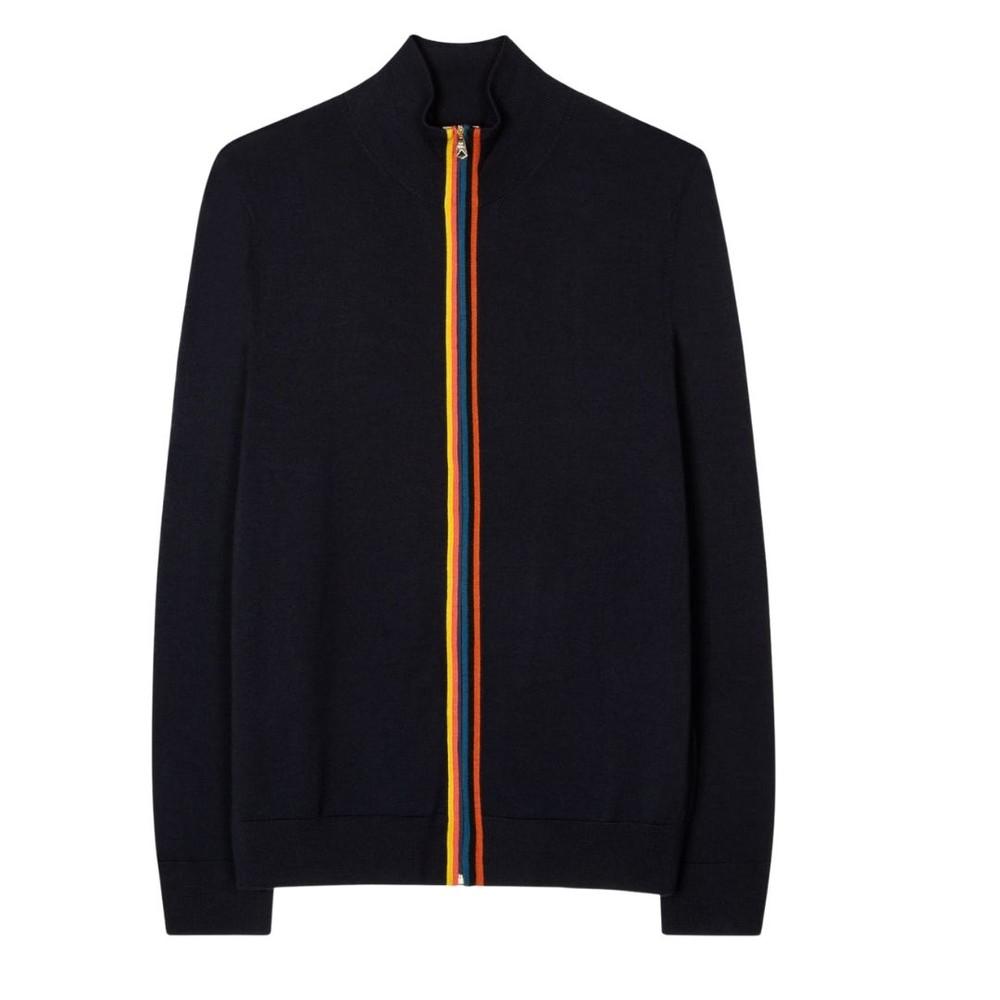 Paul Smith Gents Merino Wool 'Artist Stripe' Zip-Through Cardigan Dark Navy