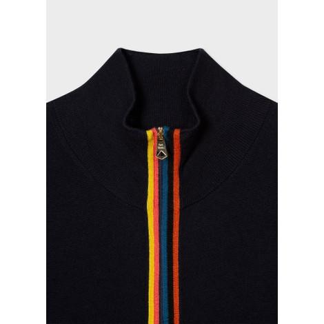 Paul Smith Gents Merino Wool 'Artist Stripe' Zip-Through Cardigan