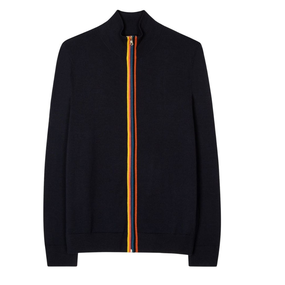 Paul Smith Gents Merino Wool 'Artist Stripe' Zip-Through Cardigan Black