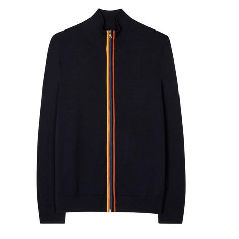 Paul Smith Gents Merino Wool 'Artist Stripe' Zip-Through Cardigan in Black