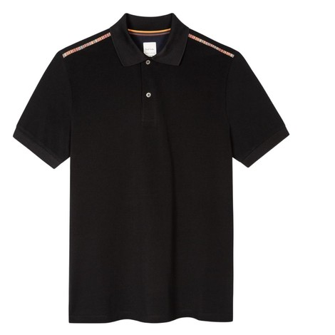 Paul Smith Gents Cotton Polo Shirt With Signature Stripe Trim in Dark Navy