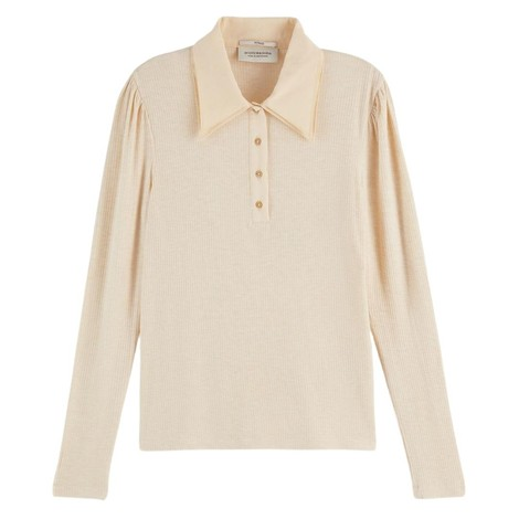 Scotch & Soda Fitted Double Collar Long-Sleeved T-Shirt