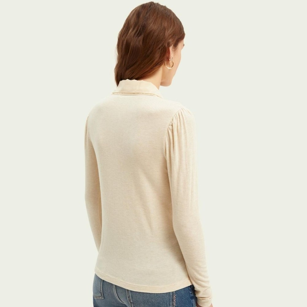Scotch & Soda Fitted Double Collar Long-Sleeved T-Shirt Cream