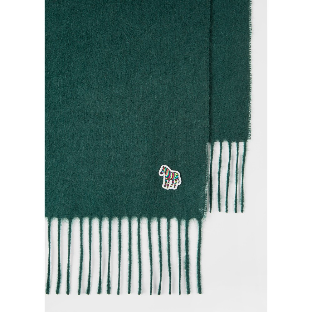 PS Paul Smith Embroidered Lambswool Scarf Green