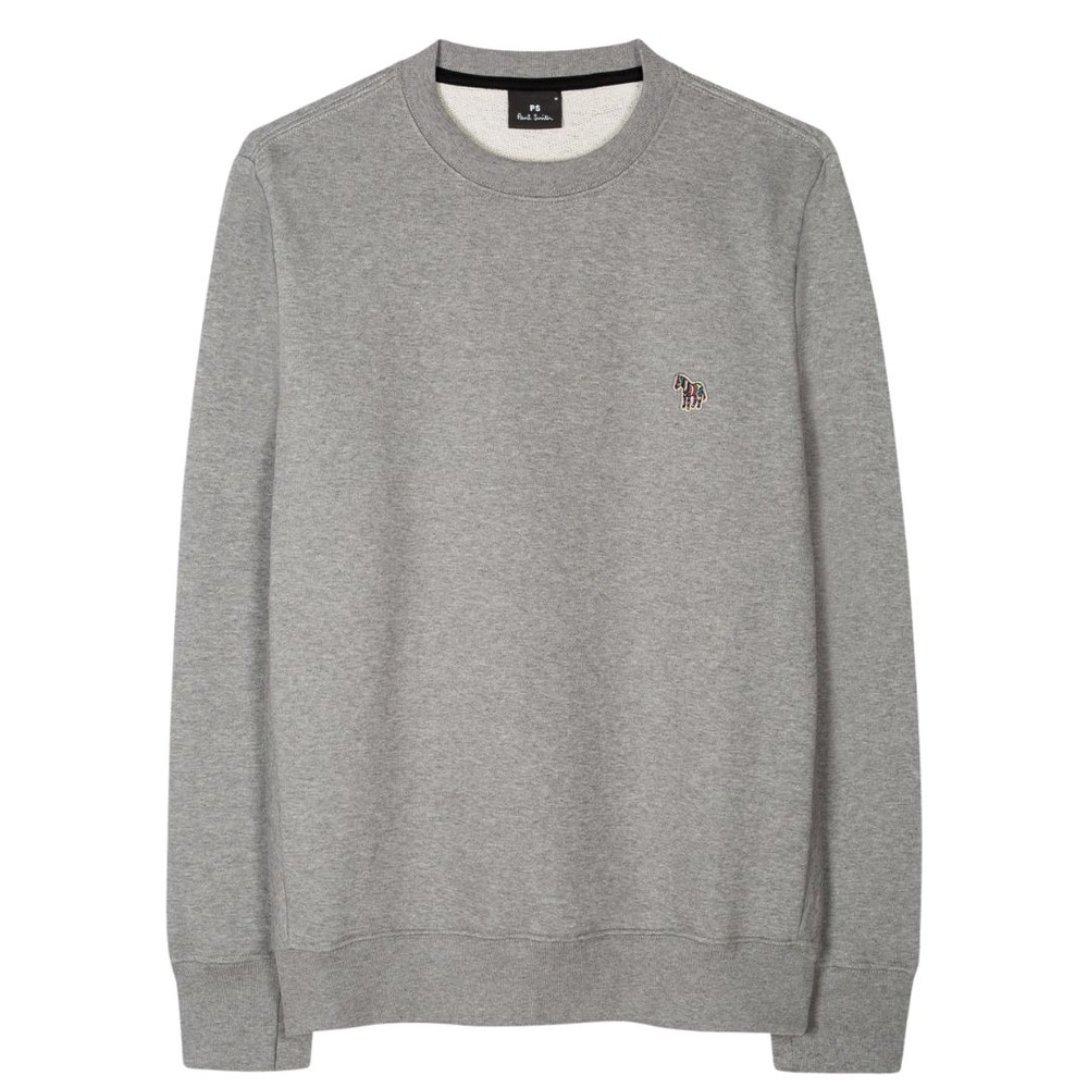 PS Paul Smith Organic-Cotton Zebra Logo Sweatshirt Grey