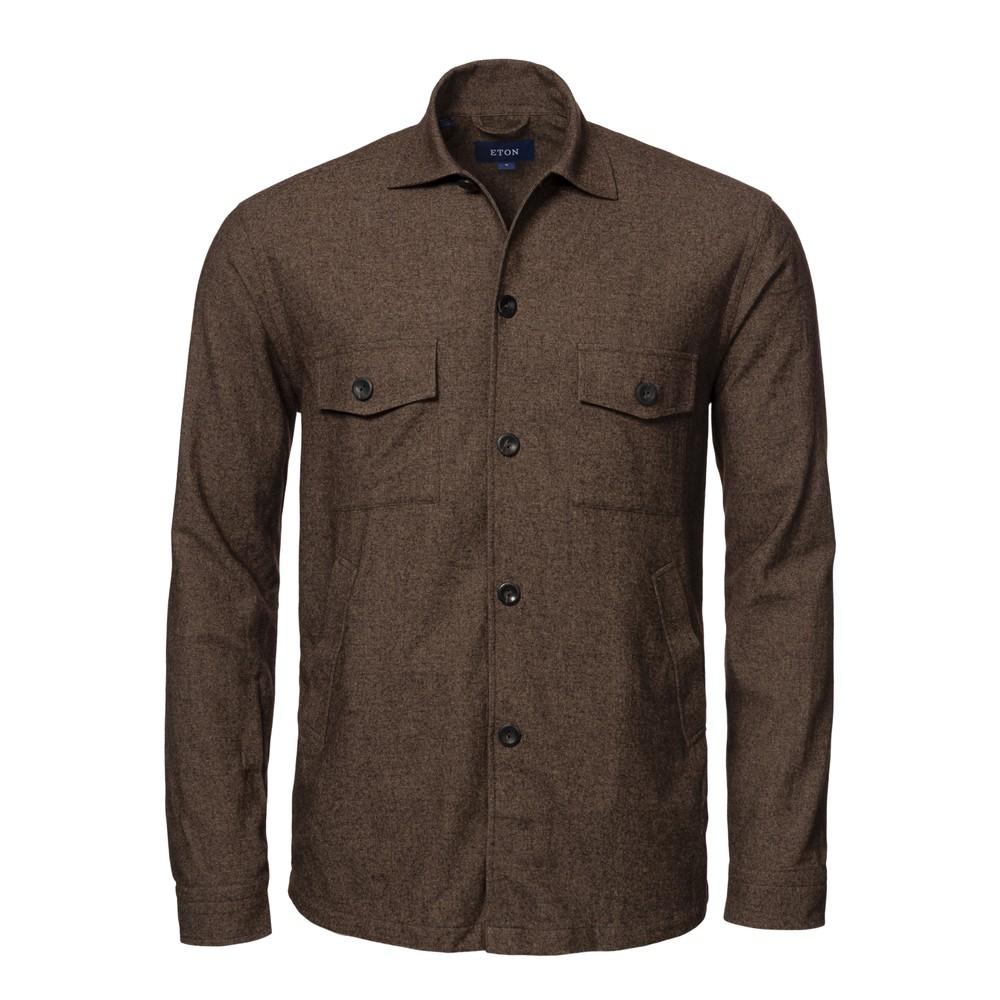 Eton Cotton Wool Cashmere Overshirt Dark Brown