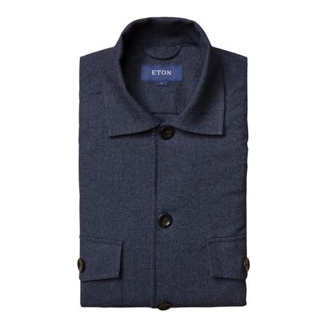 Eton Cotton Wool Cashmere Overshirt in Dark Blue