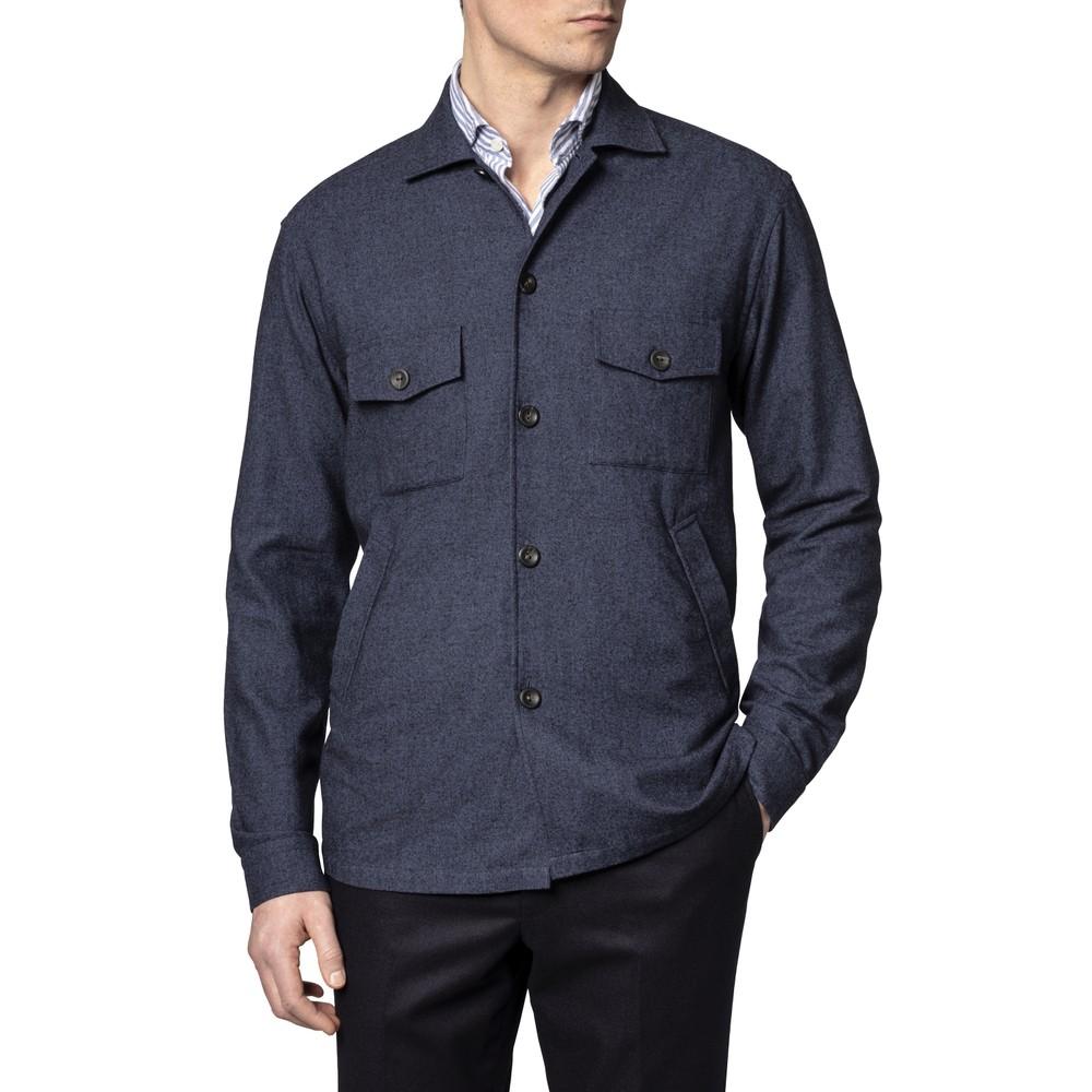 Eton Cotton Wool Cashmere Overshirt Dark Blue