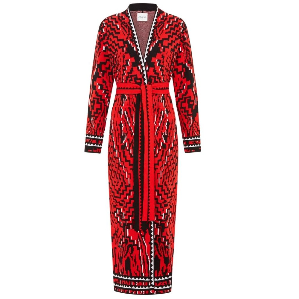 Hayley Menzies Aztec Tiger Cotton Jacquard Duster Red