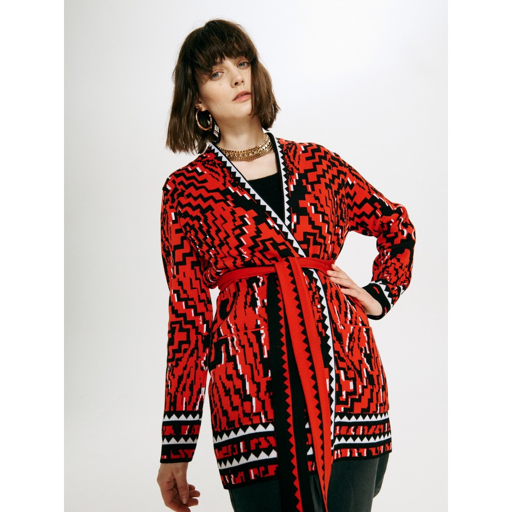 Hayley Menzies Aztec Tiger Cotton Jacquard Cardigan Red