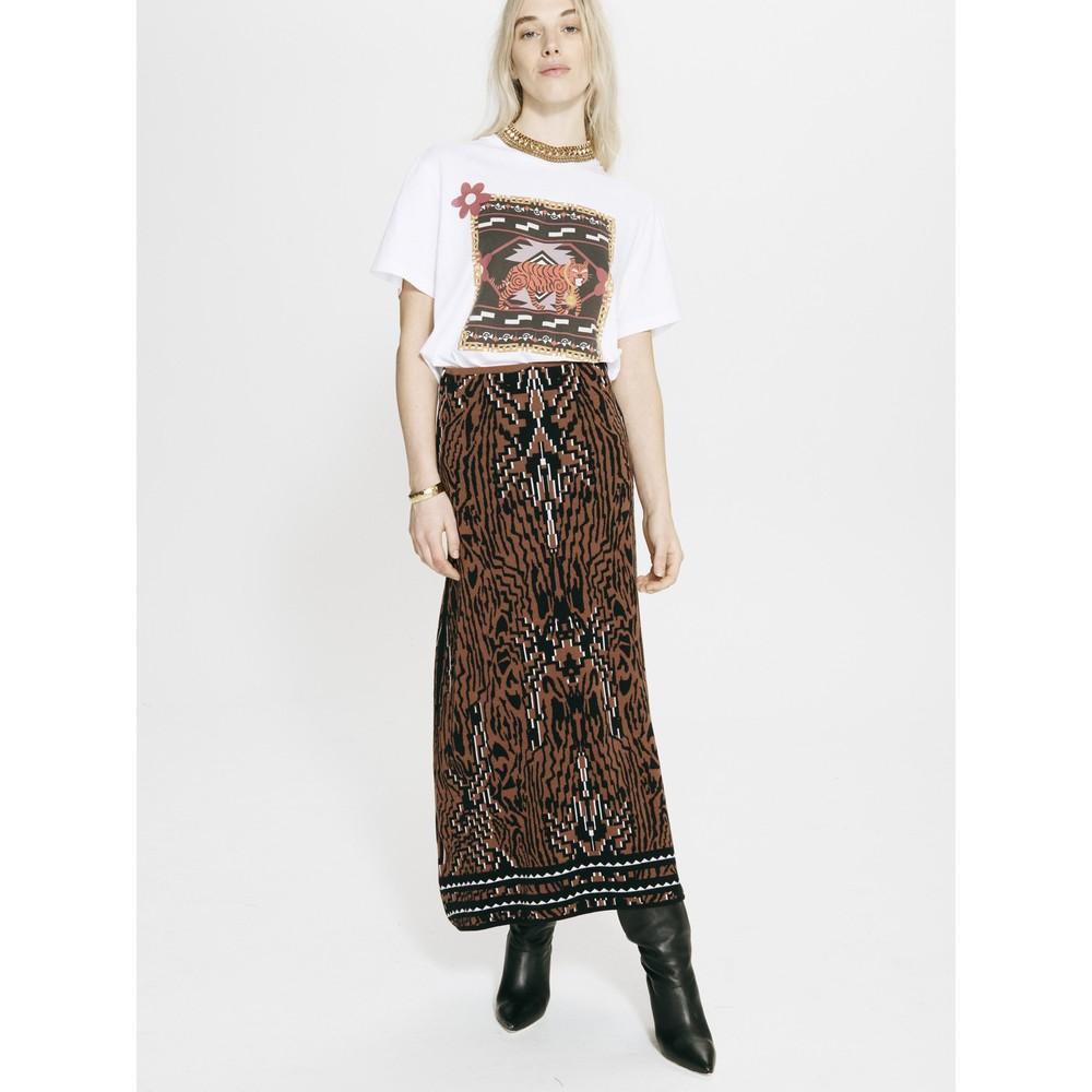 Hayley Menzies Aztec Tiger Jacquard Midi Skirt Animal Print