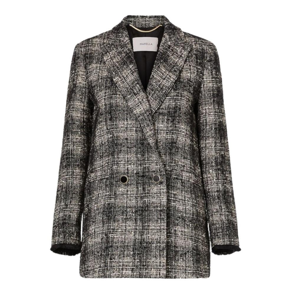 Marella Pitti Double Breasted Check Blazer Black/White