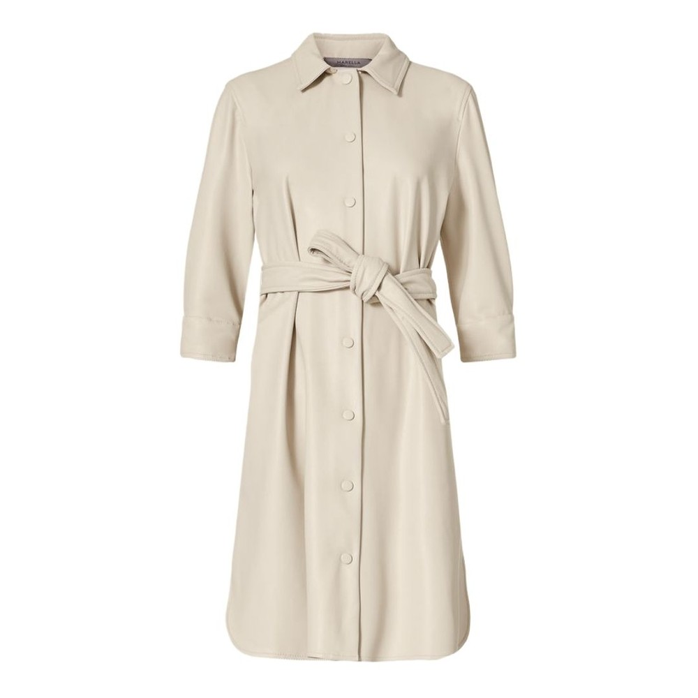 Marella Bronte Faux Leather Shirt Dress Ivory