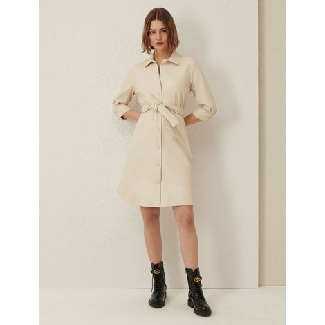 Marella Bronte Faux Leather Shirt Dress